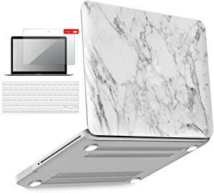 IBENZER MacBook Pro 13 Inch case A1278 Release 2012-2008, Plastic Hard Shell Case with Keyboard & Screen Cover for Apple Old Version Mac Pro 13 with CD-ROM, White Marble, P1301WHMB+2