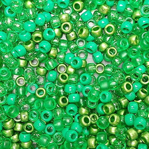Green Multicolor Mix Plastic Craft Pony Beads, 6x9mm, 500 Beads