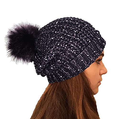 ca573c428b9 TOSKATOK Ladies Chunky Knit Slouch Beanie With Sparkle Accent Sequins and  Faux Fur Detachable Pompom Clothing