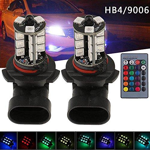 2PCS LED Fog Lights Bulbs, Northbear RGB 5050 27SMD 7 Color Car Headlight Fog Light Lamp Bulb with Remote Control (HB4/9006)