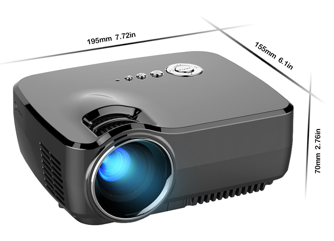 """Micro Projector Meyoung HD Movie Portable Projectors 1200 Lumens 1080P 150"""" Built-in TV Tuner for Home Theater,PS2/PS3/XBOX Games,Iphone,Ipad,Mac via HDMI/USB/AV/SD/VGA Port (GP70 Black)"""