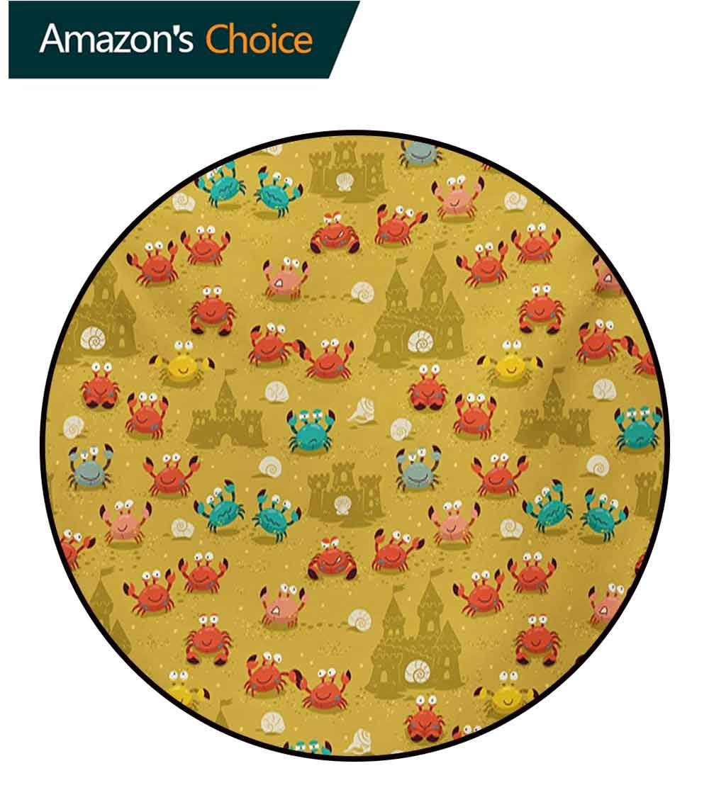 Crabs Modern Machine Washable Round Bath Mat,Children Themed Cartoon Style Crabs and Shells and A Sand Castle On Beach Print Non-Slip Living Room Soft Floor Mat,Diameter-51 Inch