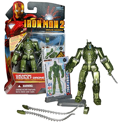 Movie Marvel Year 2010 Iron Man 2 Series 4 Inch Tall Figure #16 - WEAPON ASSAULT DRONE with Poseable Shield Panels, Detachable Saw Blades and Figure Display Stand Plus 3 Armor Cards by Movie