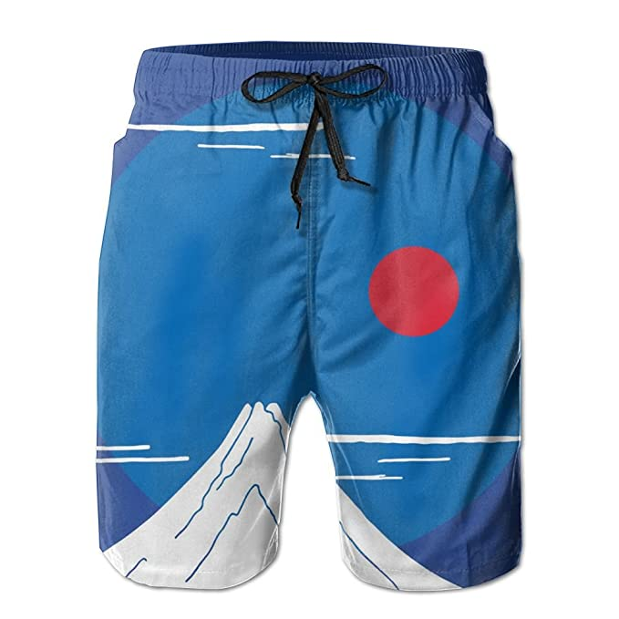 Mens Japan Fuji and Sunset Breathable Beach Board Shorts Swim Trunks Quick Dry