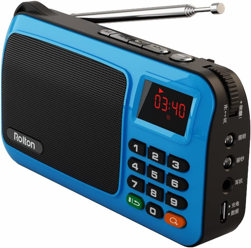 Rolton W405 Portable Mini FM Radio Speaker Music Player TF Card for PC iPod Phone with LED Display (Blue)