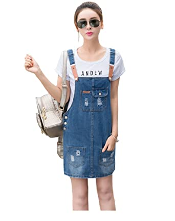 a8177fea69 Amazon.com  TOPJIN Korean Style Frayed Short Adjustable Suspender Denim  Skirt Jeans Overall Dress  Clothing