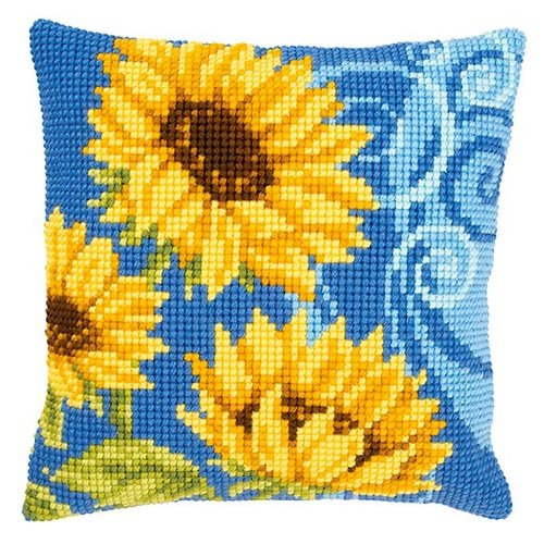Sunflowers on blue by Vervaco