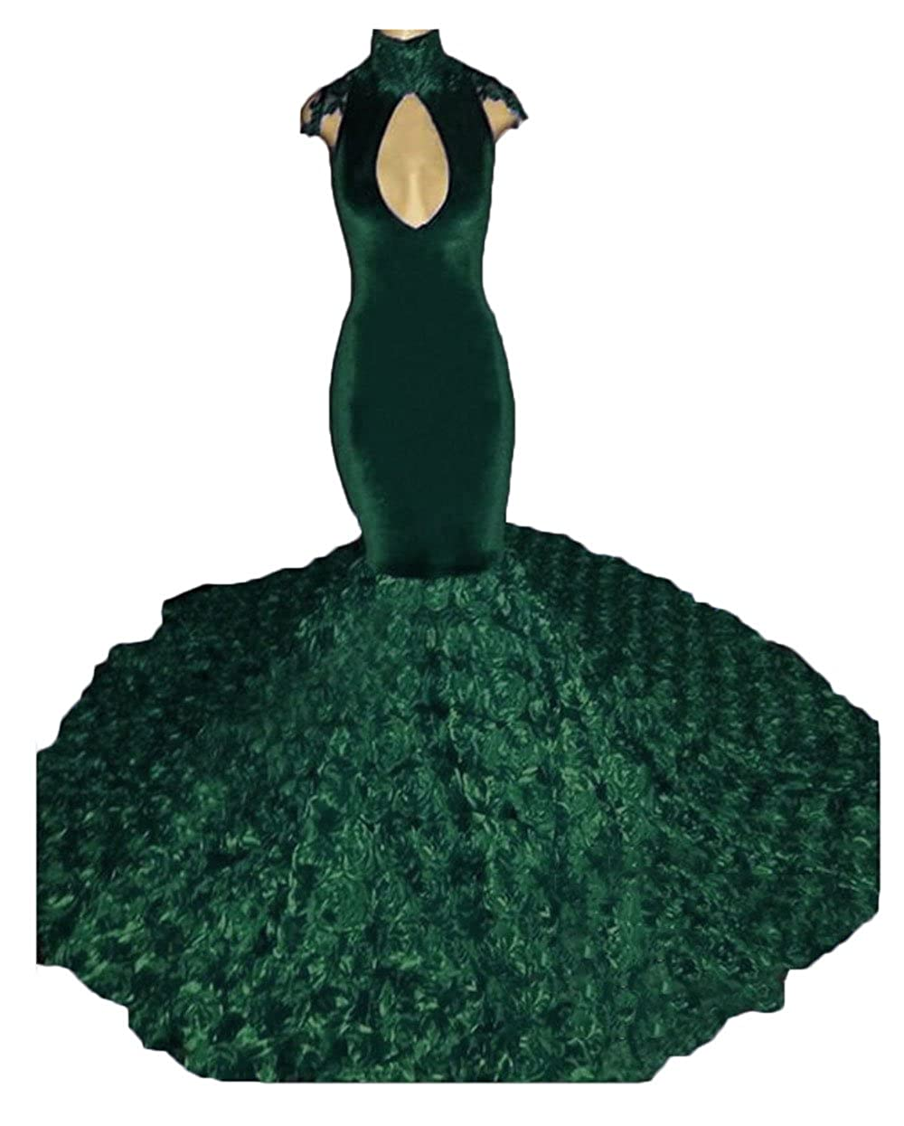 Dark Green alilith.Z Sexy High Neck pink Flowers Train Prom Dresses Appliques Mermaid Formal Evening Party Dresses Women 2018