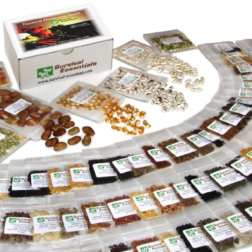 Survival Essentials 135 Variety Premium Heirloom Non Hybrid Non GMO Seed Bank - 23,335+ Seeds - All In One Super Value Pak...Veggies, Fruits, Medicinal/Culinary Herbs - Plus 9 FREE Rare Tomato Varieties. ()
