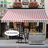 15'x10', Red/Grey Stripes, Semi-Cassette Top Quality Manual Retractable Window/Door Cloth Cover Canopy Sun Shade Patio Awning, 100% Arcylic, Diensweek Manual C200 Series, 5 years warranty