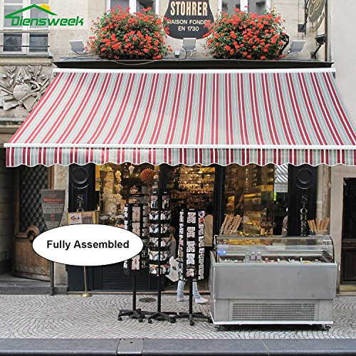 Diensweek Stripes Patio Awning Retractable Manual Commercial Grade, Quality 100% Acrylic Sunshade, Deck Canopy Balcony, M100 Series , Red/Grey by Diensweek