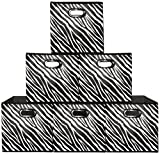 (6 Pack, Zebra) Storage Bins (Large), Containers, Boxes, Tote, Baskets| Collapsible Storage Cubes for Household Organization | Plastic Dual Handle | Storages Drawer … (6PK, Zebra Large)