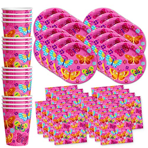 Whimsical Pink Butterfly Birthday Party Supplies Set Plates Napkins Cups Tableware Kit for 16 by Birthday Galore