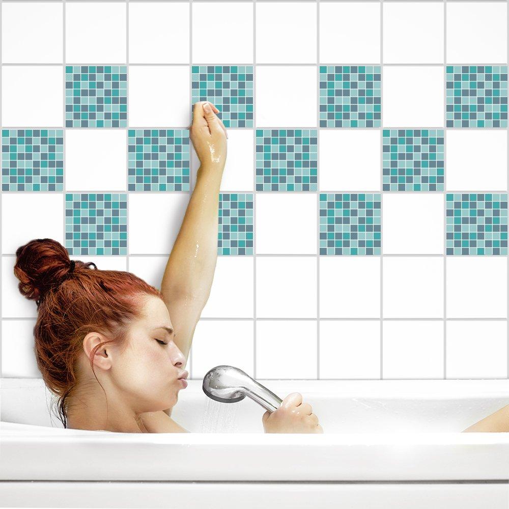 PrintYourHome Fliesenaufkleber für Küche und Bad     Mosaik Sinfonie glänzend   Fliesenfolie für 20x25cm Fliesen   42 Stück   Klebefliesen günstig in 1A Qualität B071S8YNT8 Fliesenaufkleber 5b6a77