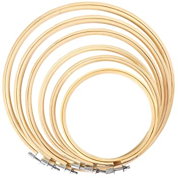 Caydo 6 Pieces Embroidery Hoop Set Bamboo