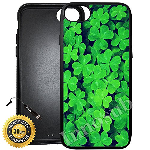 Custom iPhone 8 Case (Lucky Shamrock Pattern) Edge-to-Edge Rubber Black Cover with Shock and Scratch Protection | Lightweight, Ultra-Slim | Includes Stylus Pen by INNOSUB (Shamrock Phone Case)