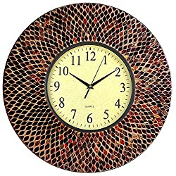 LuLu Decor, 19 Amber Mosaic Wall Clock with Coffee Cement, Arabic Number Dial 9.5 for Living Room & Office Space (LP70)
