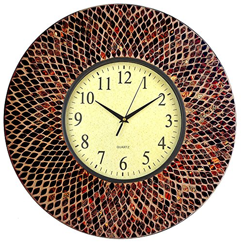 Lulu Decor, 19 Amber Mosaic Wall Clock with Coffee Cement, Arabic Number Dial 9.5 for Living Room Office Space LP70