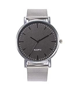 ZHOUBA Men Metal Mesh Strap Round Dial Analog Business Quartz Wrist Watch Gift Black