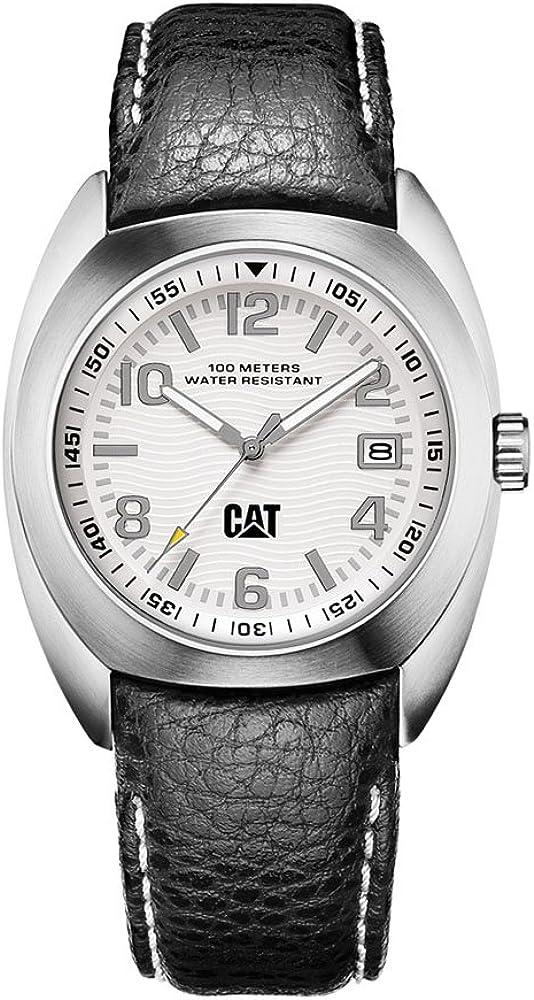 Caterpillar Skipper Date CA0733 - Reloj analógico de caballero de cuarzo con correa de piel azul