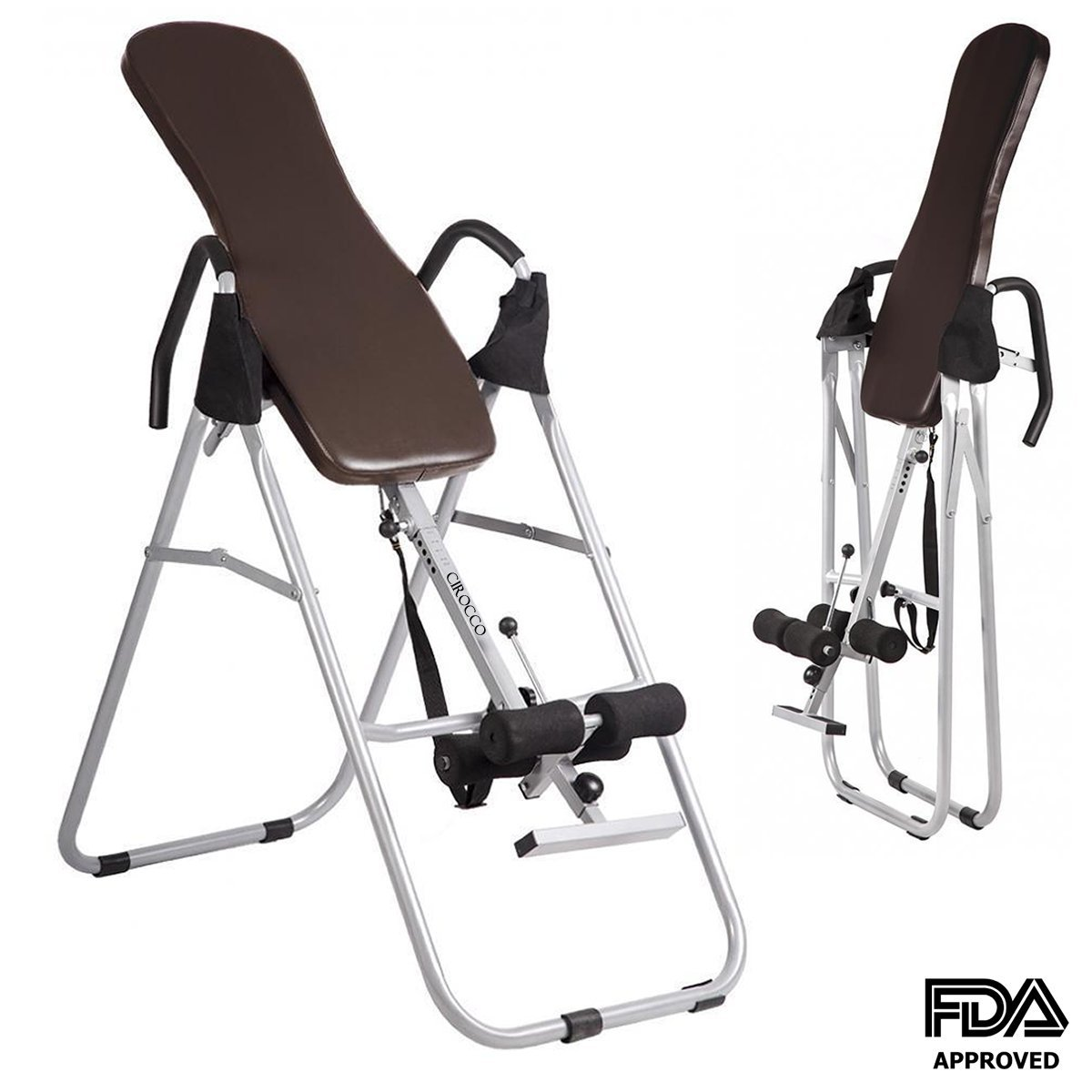 Cirocco Foldable Inversion Table for Backpain with Backrest – Heavy Duty 330 Lbs Capacity Folding Back Stretcher Machine Fitness Chiropractic Exercise Reflexology Safe for Pain Relief Neck Fatigue
