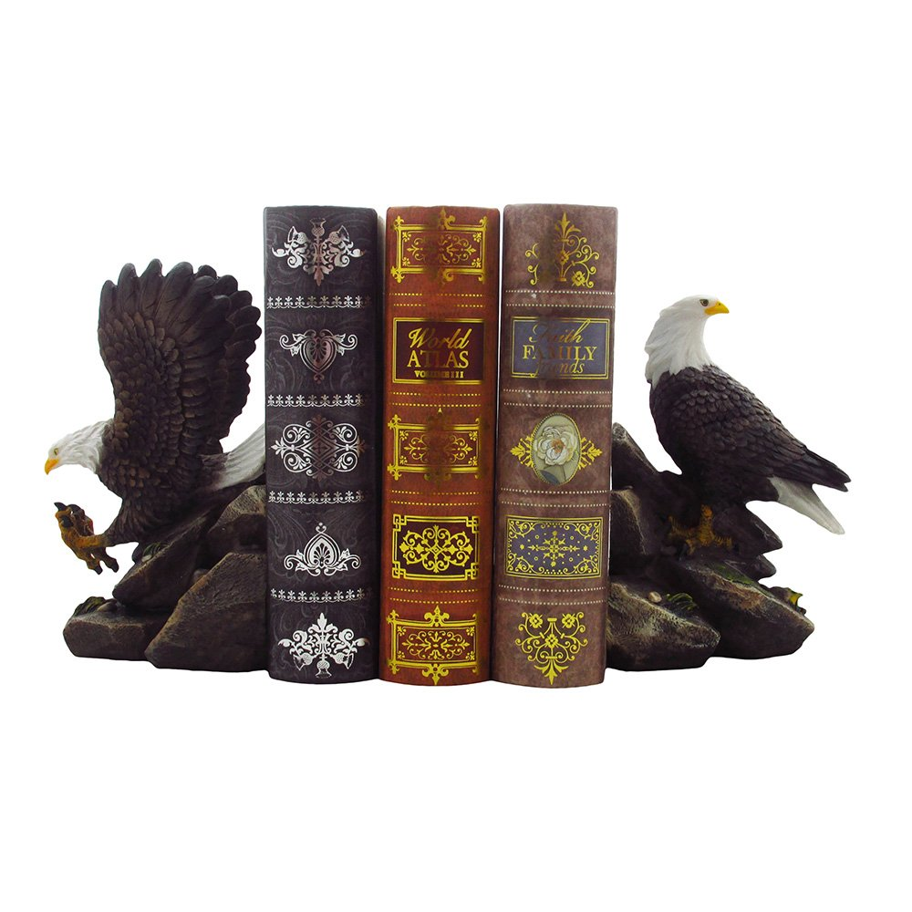 American Bald Eagle Bookend Set Sculptures in Office and Patriotic Home Decor, Bird Statues and Figurines by Home-n-Gifts by Home 'n Gifts