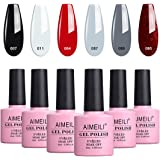 AIMEILI Soak Off UV LED Gel Nail Polish Multicolour/Mix Colour/Combo Colour Set Of 6pcs X 10ml - Kit Set 28