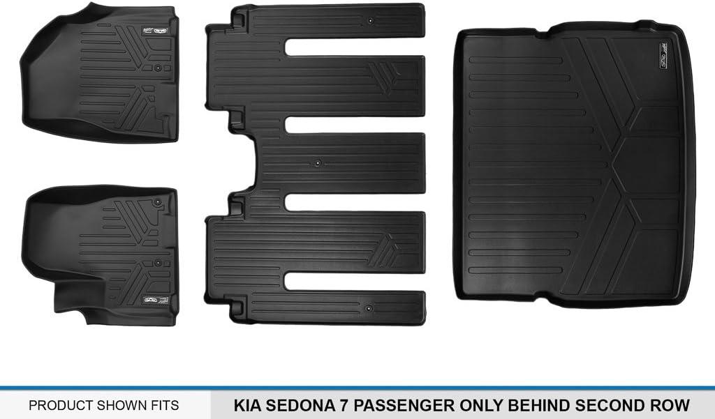 SMARTLINER Floor Mats 3rd Row Liner Black for 2015-2018 Kia Sedona 7 Passenger Model with 2nd Row 1st Class Lounge