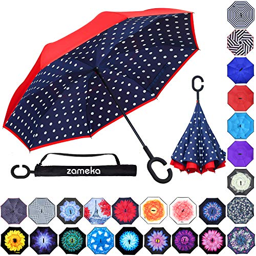 Zameka Double Layer Inverted Umbrellas Reverse Folding Umbrella Windproof UV Protection Big Straight Umbrella Inside Out Upside Down for Car Rain Outdoor with C-Shaped Handle (Blue ()