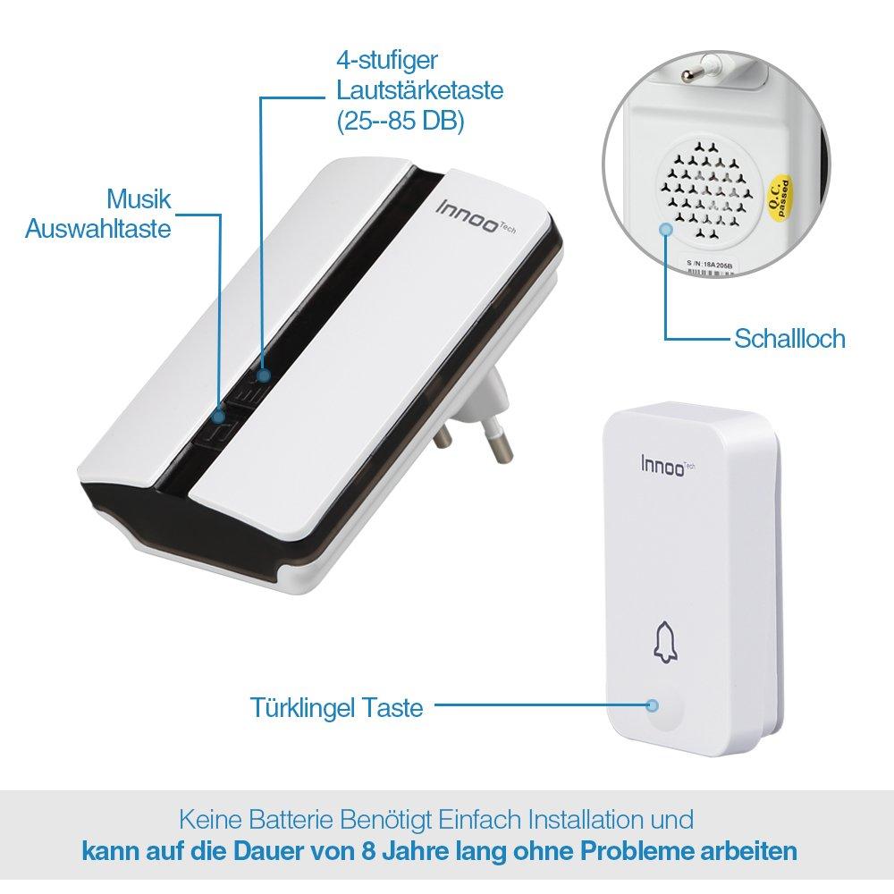 Keine Batterie Erforderlich] Innoo Tech Funkklingel Außenbereich ...