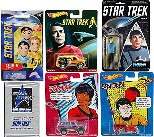 Hot Wheels Star Trek Space Pack Mr. Spock Action Retro Figure & Hot Wheels Pop Culture cars 25th Anniversary Original TV Series Trading Cards STAR TREK Chibi Figure Blind Bag (Scooby Doo Cast Costumes)