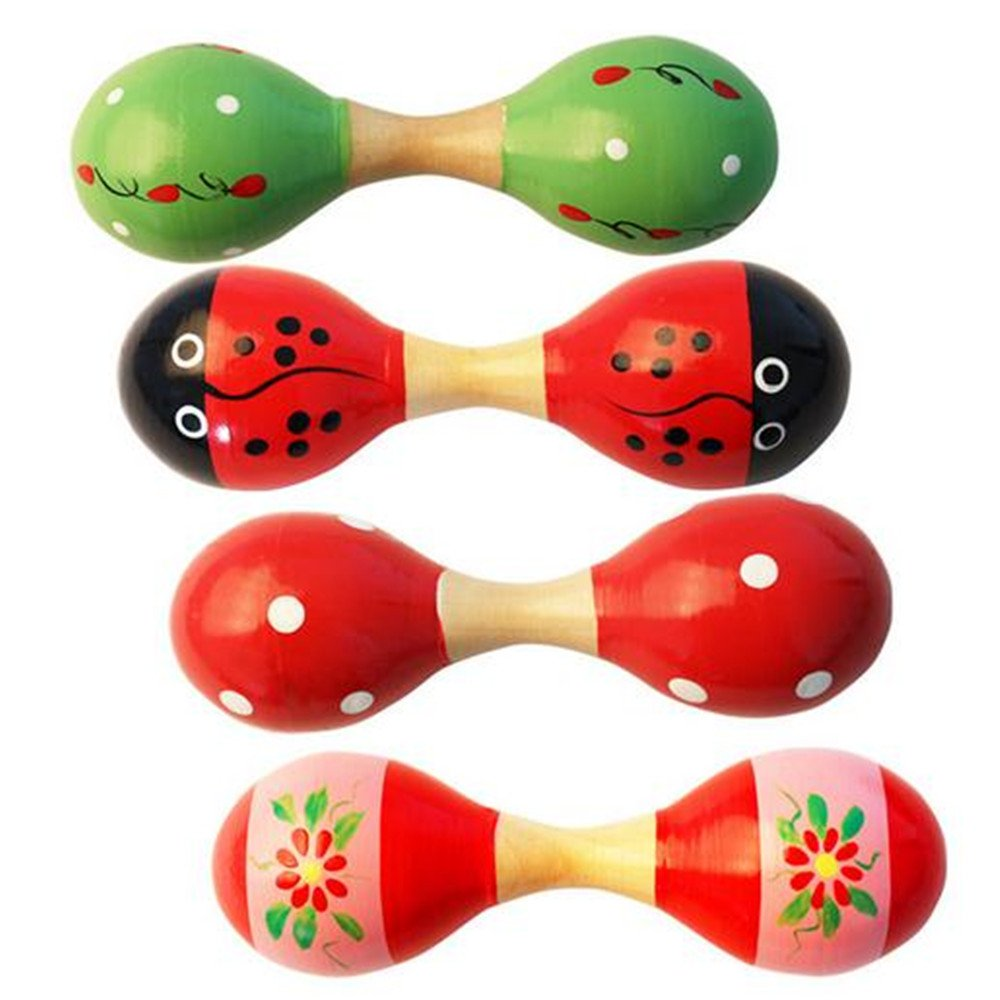 Goodplay 2 PCS Classic Wooden Maracas Double Head Sand Rattle Shakers Egg Handbell Hammer Percussion Musical Instruments kids Educational, Party Favor Kid Baby Toys (Random Color Pattern) (Small) G1344