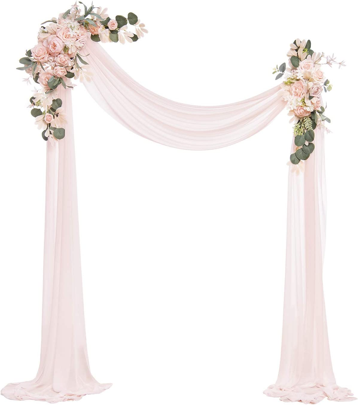 Ling's moment Artificial Wedding Arch Flowers Kit(Pack of 3) - 2pcs Blush & Pink Aobor Floral Arrangement with 1pc Semi-Sheer Swag for Ceremony and Reception Backdrop Decoration
