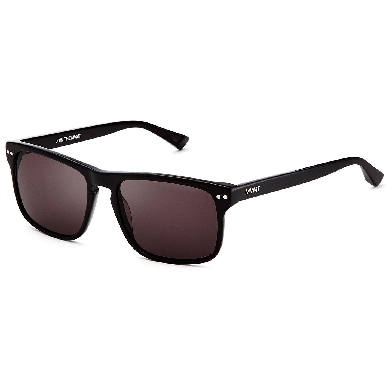 MVMT Reveler   Polarized Rectangular Men's Sunglasses   Pure Black   57 mm