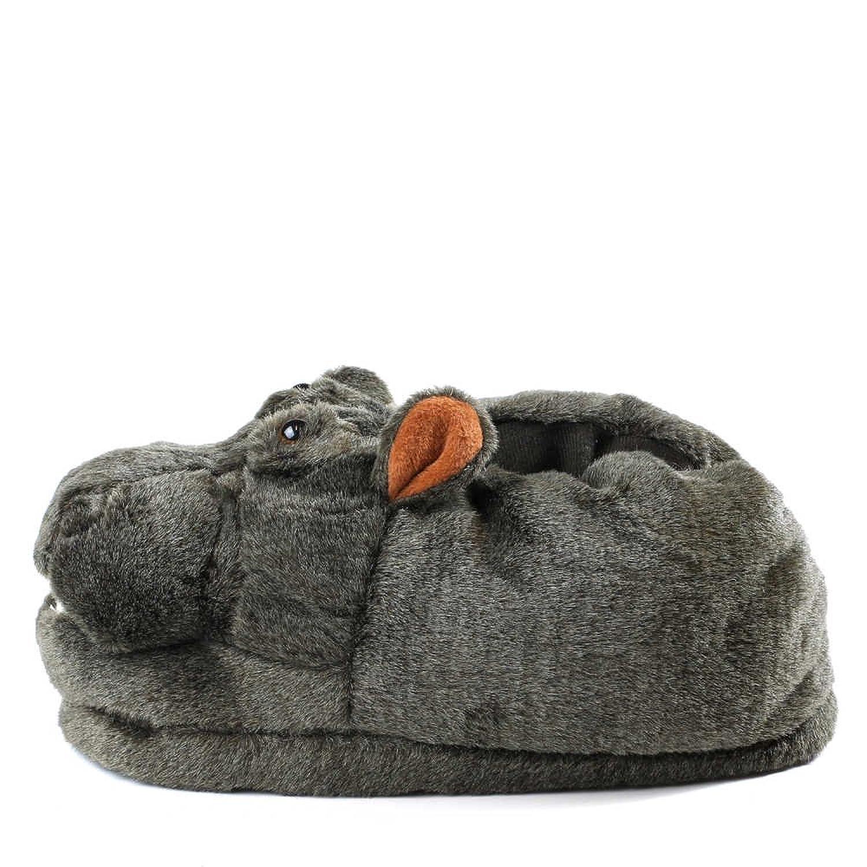 Sleeper'z - Hippopotame - Chaussons animaux peluche - Homme Femme - Idée cadeau original - Pointure 42-44 (XL) qQLNnGd