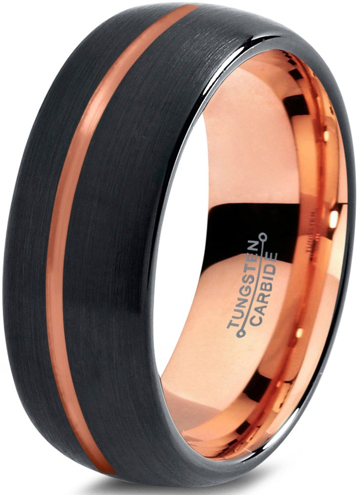 Tungsten Wedding Band Ring 8mm for Men Women Black Rose Yellow Gold Plated Dome Offset Line Brushed Polished Charming Jewelers MDC-715-8