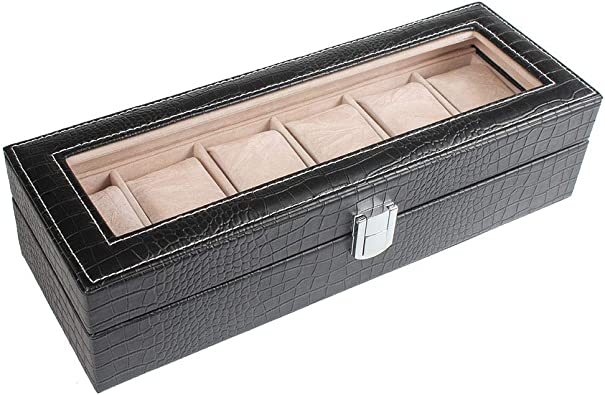 Canank Caja de Reloj para 6 Relojes y Joyería Expositor Maletín Organizador con Pantalla Superior de Vidrio (Black): Amazon.es: Joyería