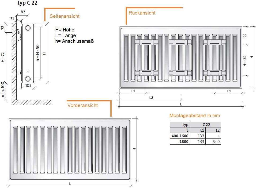 Halterung zweilagig BL 140 cm Profil KOMPAKT HEIZK/ÖRPER Purmo Typ 22 seitlich H 50 CM BL 40-180cm inkl