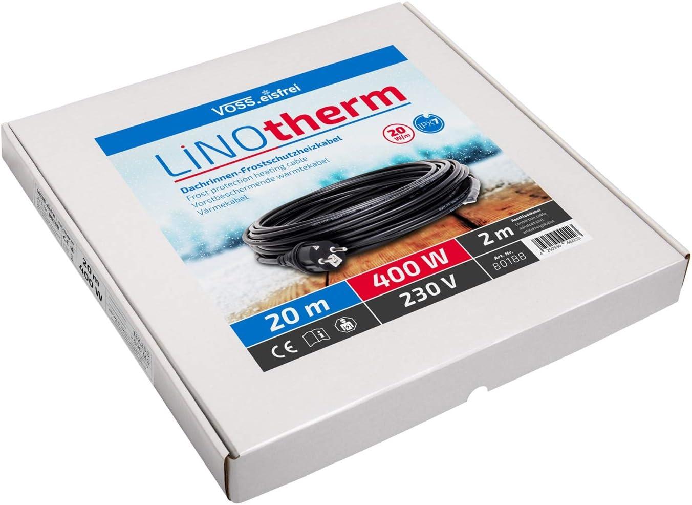 20m Cable Calentador T/érmico 400W VOSS.eisfrei Linotherm Cable Calefactor de tuber/ías