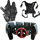 Kids Halloween Cos Costume Dead-Pool Waist Belt and Strap and Holster 3 Piece Suit Black