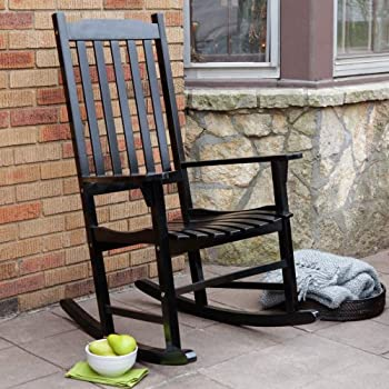 Marvelous Coral Coast Indoor/Outdoor Mission Slat Rocking Chair   Black