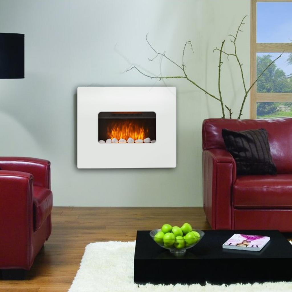 Shop Electric Wall Mounted Fire Fireplace White Mdf Flicker Flame Heater Living Room. Free delivery on eligible orders of ?20 or more.