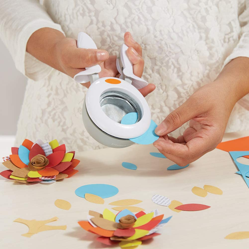 5 cm 1016281 For Left- and Right-handed use White//Orange Quality Steel//Plastic XL Butterfly Fiskars Squeeze Punch XL