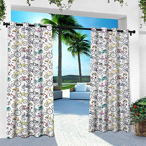 - Hengshu Bicycle, Outdoor- Free Standing Outdoor Privacy Curtain,Retro Style Colorful Bicycles of All Styles and for All Age Groups Training Wheels, W120 x L84 Inch, Multicolor