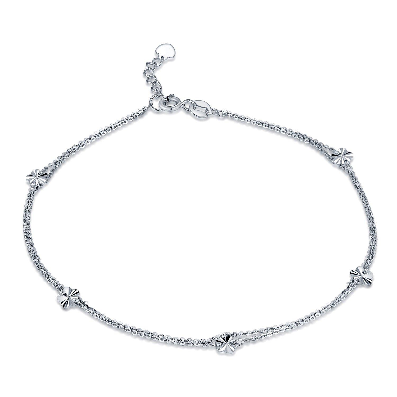 MaBelle 14K White Gold Plum Blossom Flower Charm Double Anchor Chain Anklet (9.25'')