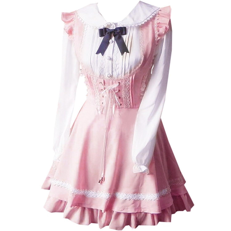 Patiss Damen Frauen Suesses Synthetic geknotete Lolita One Piece Kleid