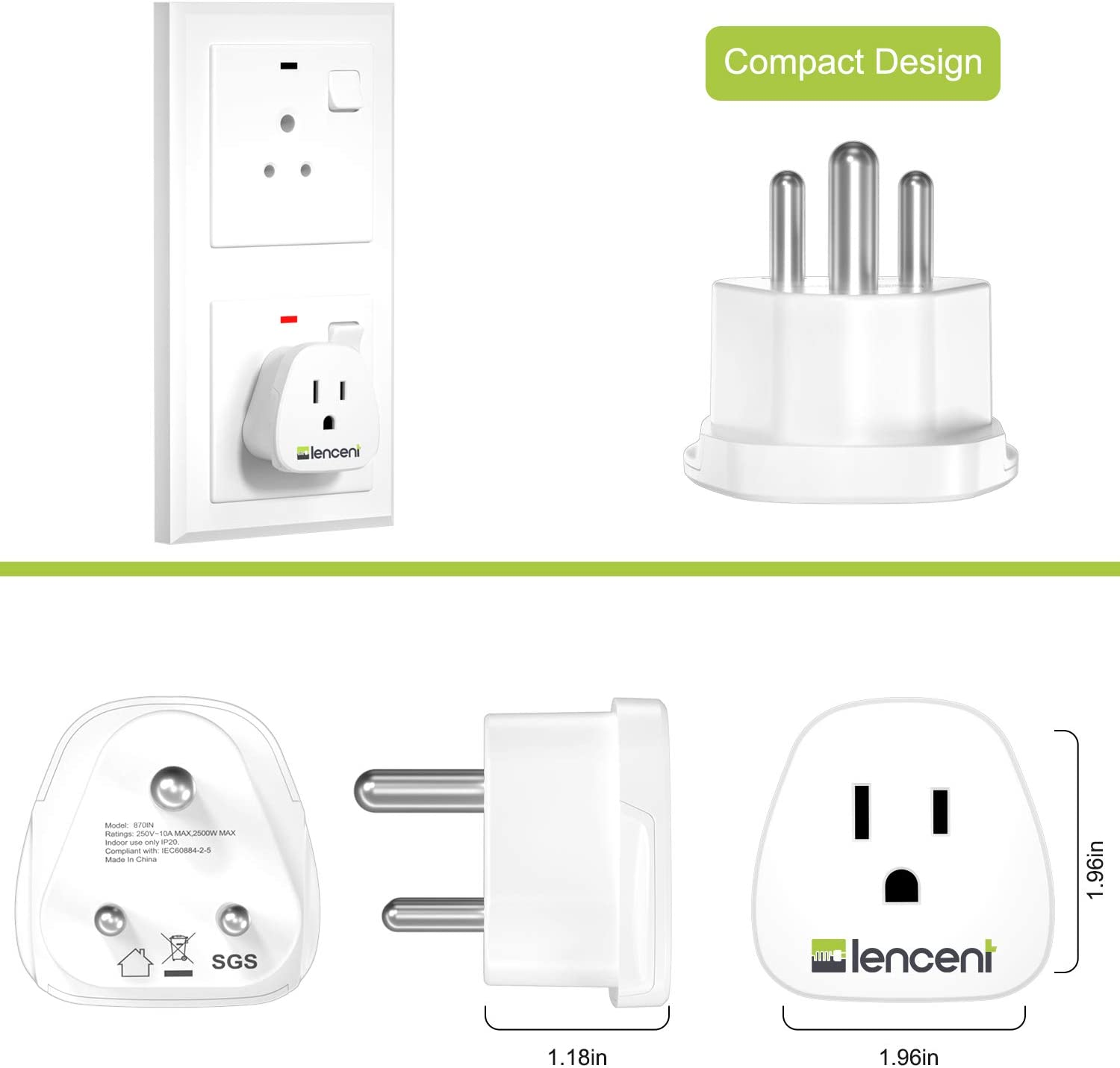 - Grounded /& Universal Nepal Bangladesh - 2 Pack,US to India Power Adapter Type D LENCENT India Travel Plug Adapter for Pakistan
