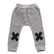 Baby Boys Girls Autumn X Print Striped Little Monster Harem Pants (70(6-12M), Grey)