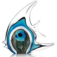 Tooarts Adornos de vidrio de esculturas de peces