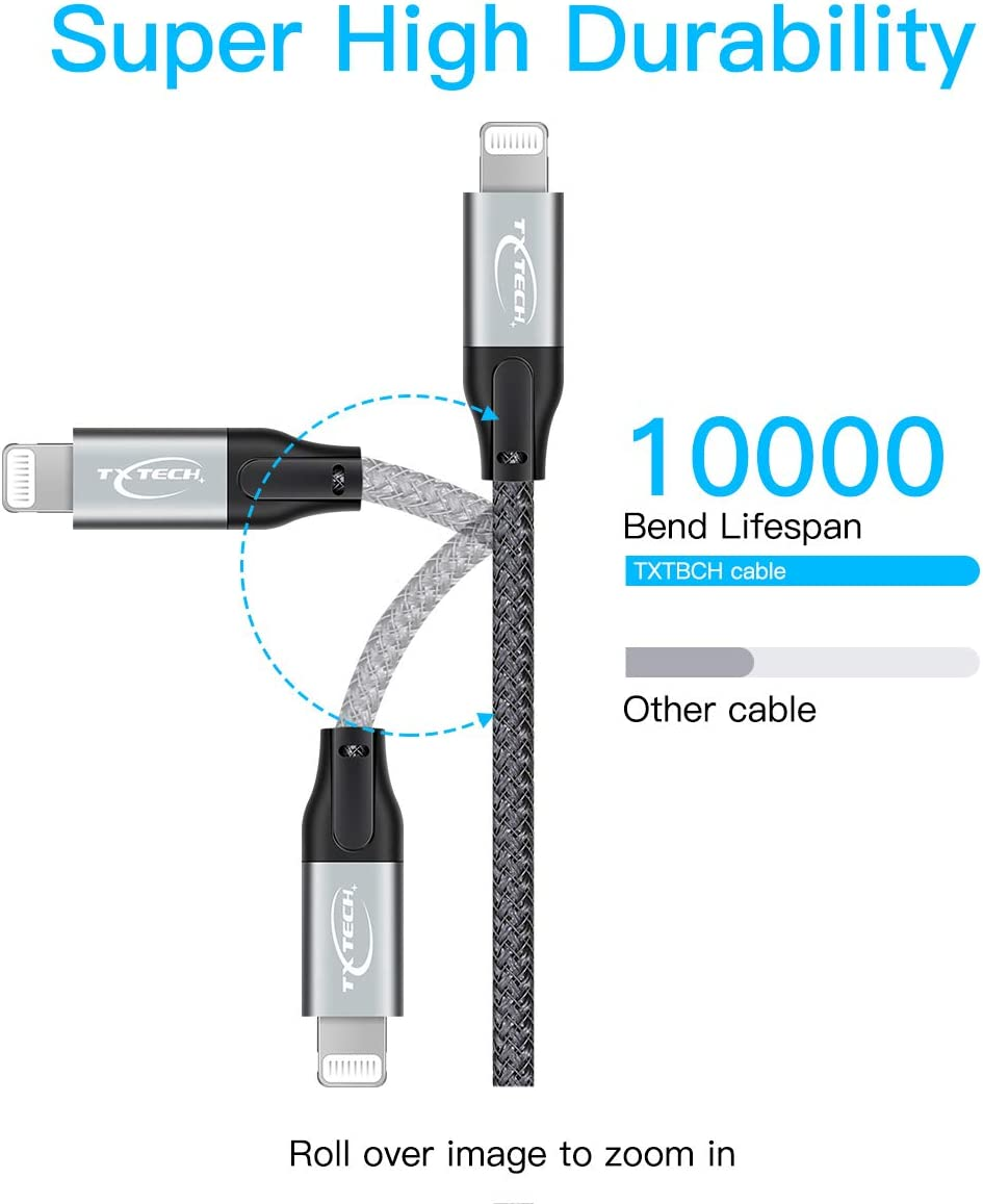 MFi Certified PD Fast Charge Cord data sync Nylon Cable for iPhone 11 pro max//XS max//XR//X//8Plus//iPad and Other usb C to lightning Devices-Grey 0.5m USB c to Lightning Cable,TXTECH usb C to Lightning